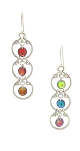 Wraptillion's Tripled Rainbow Earrings (modern silver-tone linked circle dangle earrings) on a white background