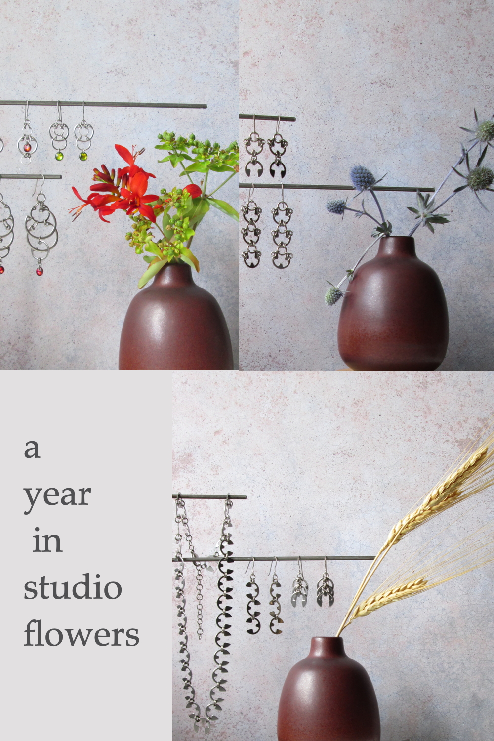 "4 photos of small modern flower arrangements and Wraptillion jewelry from Wraptillion's studio flowers series, with dried wheat, sea holly, red crocosmia, and euphorbia; text on image reads ""a year in studio flowers'"