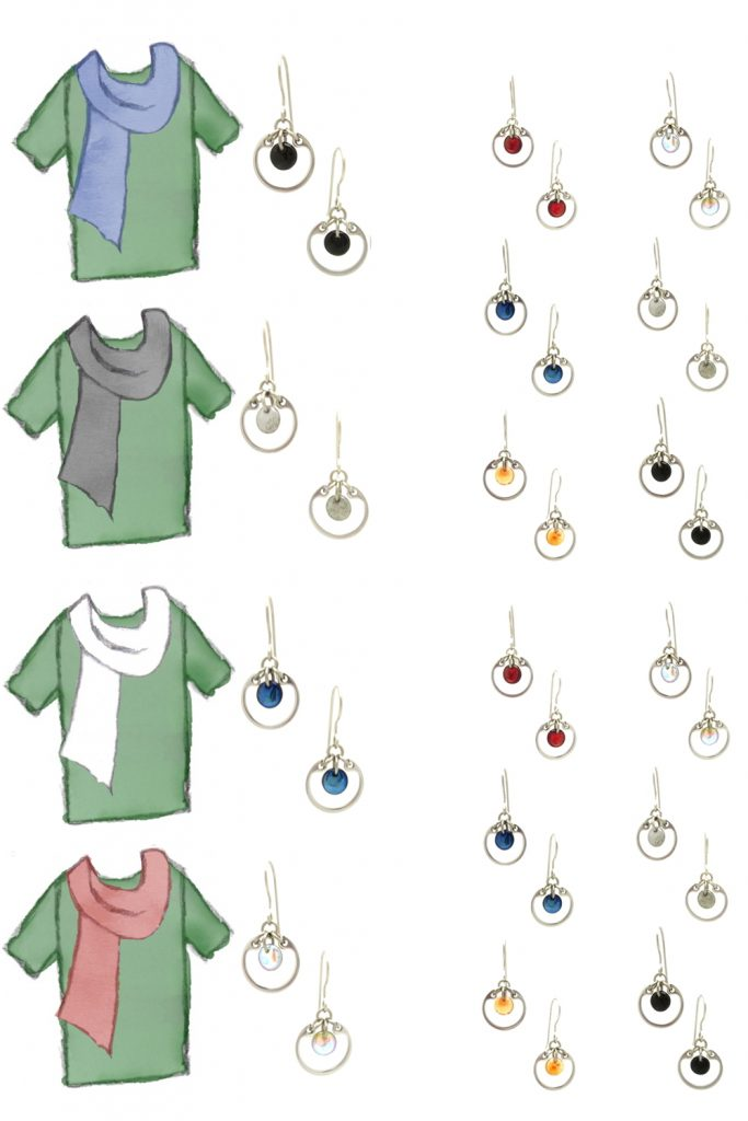 4 style sketches of a green tee plus scarf in denim blue, grey, white, and light red, plus small modern circle earrings by wraptillion in gray, pale rainbow, navy blue, orange, black, and red