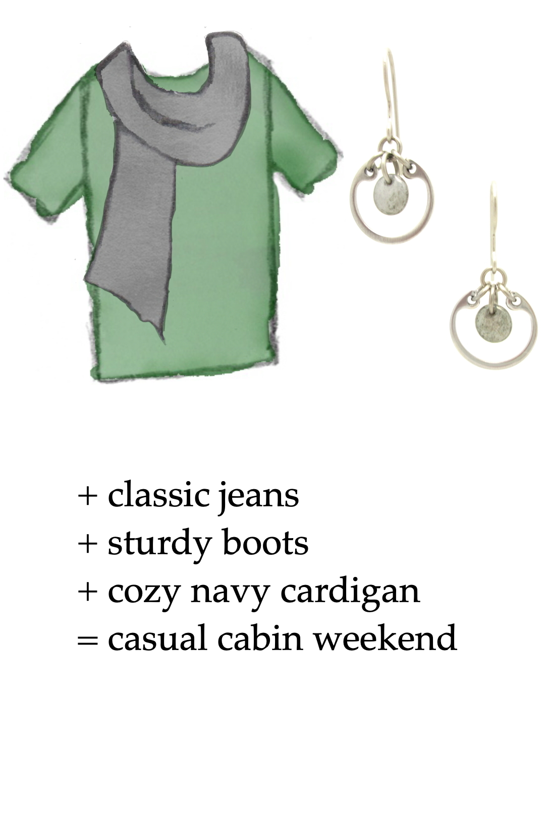 style sketch of a green tee + gray scarf with grey modern circle earrings by wraptillion; text reads + classic jeans + sturdy boots + cozy navy cardigan = casual cabin weekend