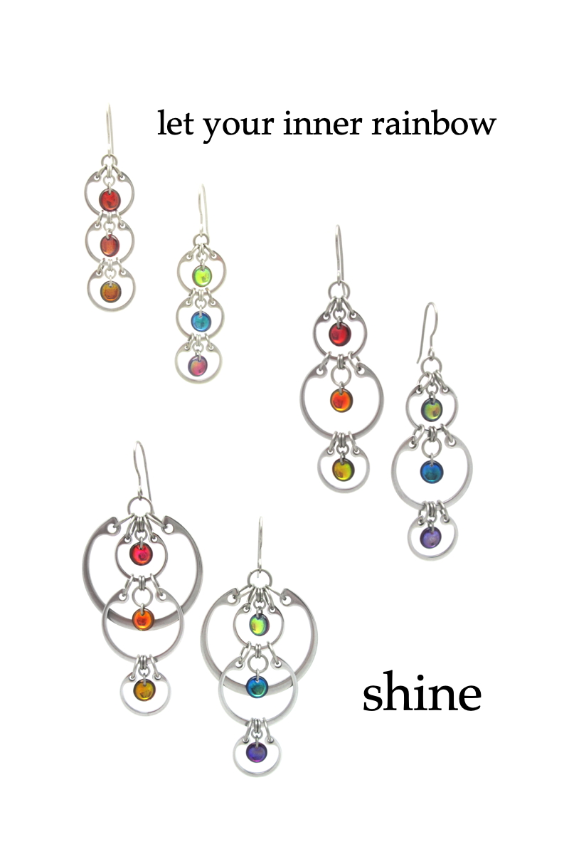 """Three pieces from Wraptillion's modern Industrial Glass Rainbows jewelry collection: the Tripled Rainbow Earrings, Alternating Rainbow Earrings, and Cascading Rainbow Earrings, show linked circle and rainbows of Czech glass. Text on image reads: """"let your inner rainbow shine"""""""