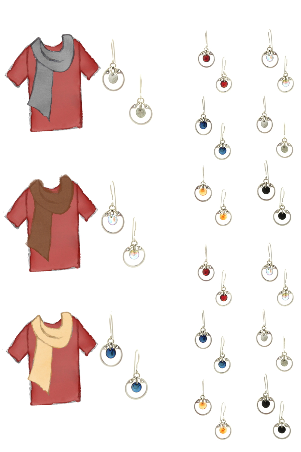 3 sketches of a red tee plus scarf: gray, brown, and pale orange, plus small moder circle earrings by wraptillion in gray, pale rainbow, navy blue, orange, black, and red