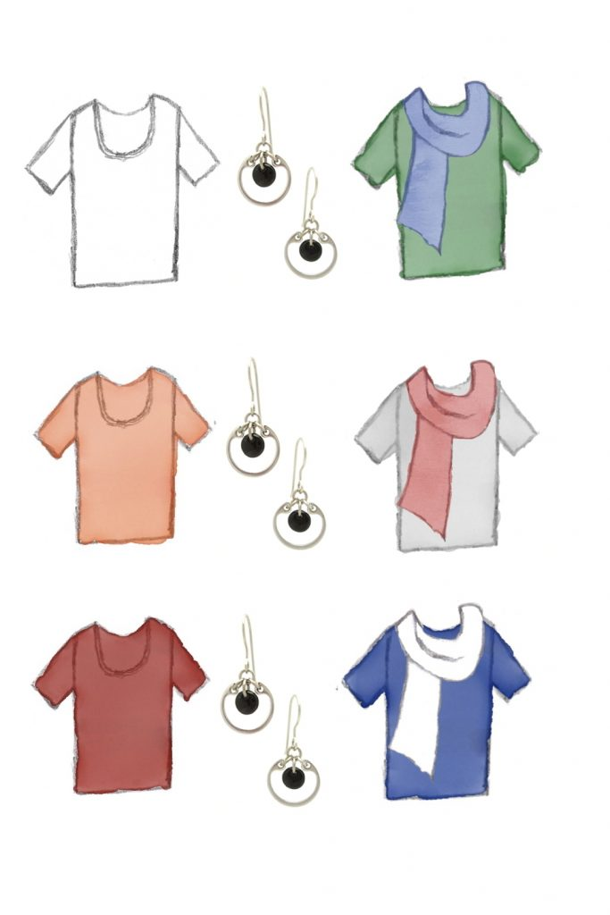 6 style sketches: a white tee, a pale orange tee, a red tee, a green tee with blue scarf, gray tee with pale red scarf, & blue tee with white scarf, with Wraptillion's small circle earrings in black