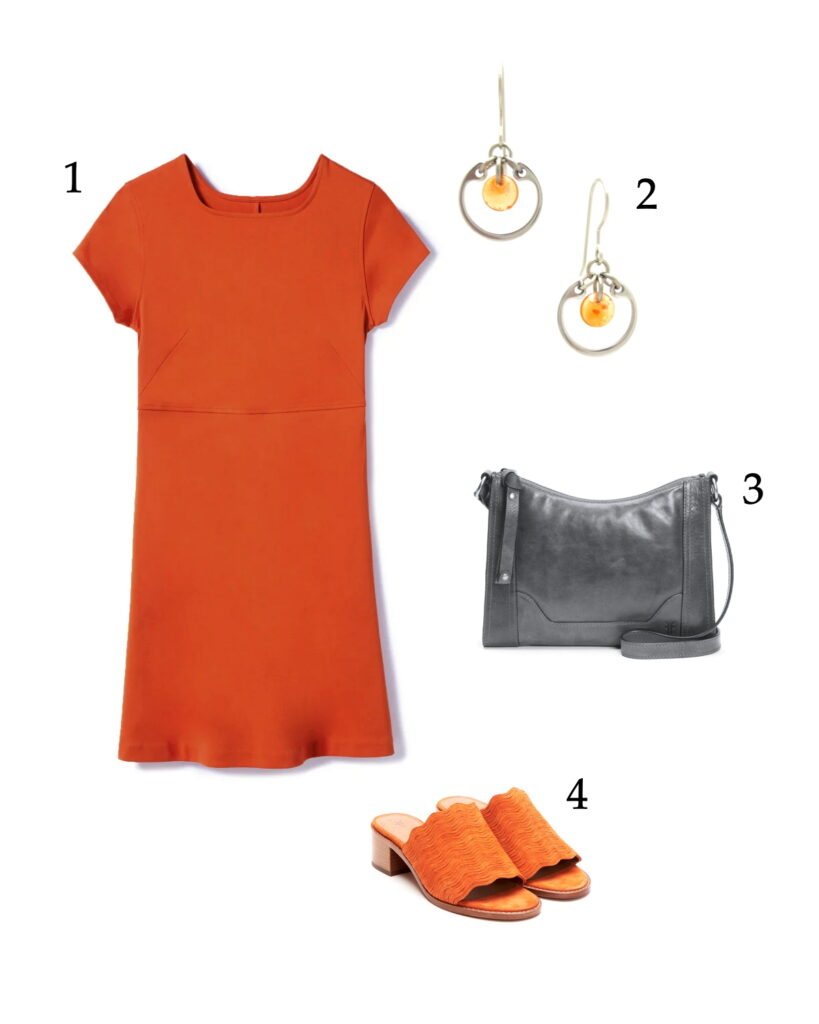 outfit photo collage of a short-sleeve orange tee dress with scallopped orange mule sandals with low heels, a gray handbag, and Wraptillion's modern small circle earrings in orange