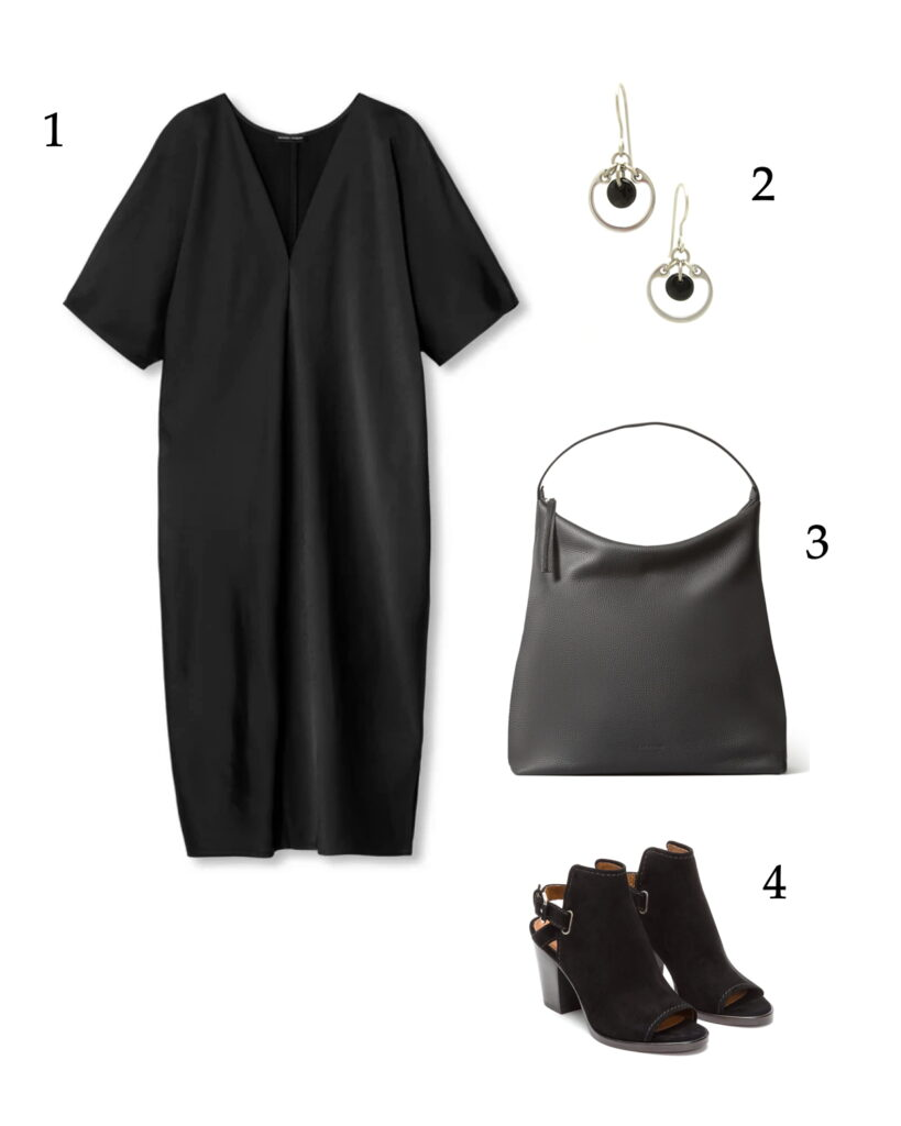 photo collage of a chic summer all-black outfit idea: a v-neck black dress, black bag, black slingback boots, and Wraptillion's small modern silver-toned circle earrings in black