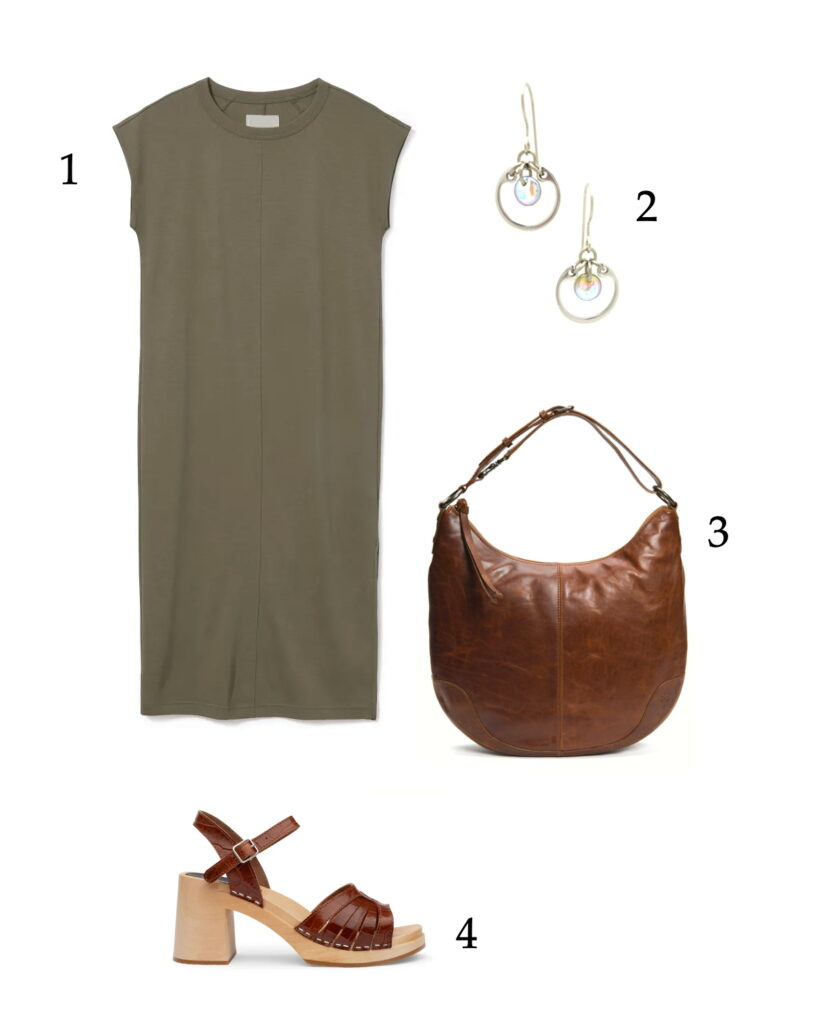 easy neutral outfit collage with a khaki tee dress, brown clog sandals, brown bag, and Wraptillion's small circle earrings in pale rainbow