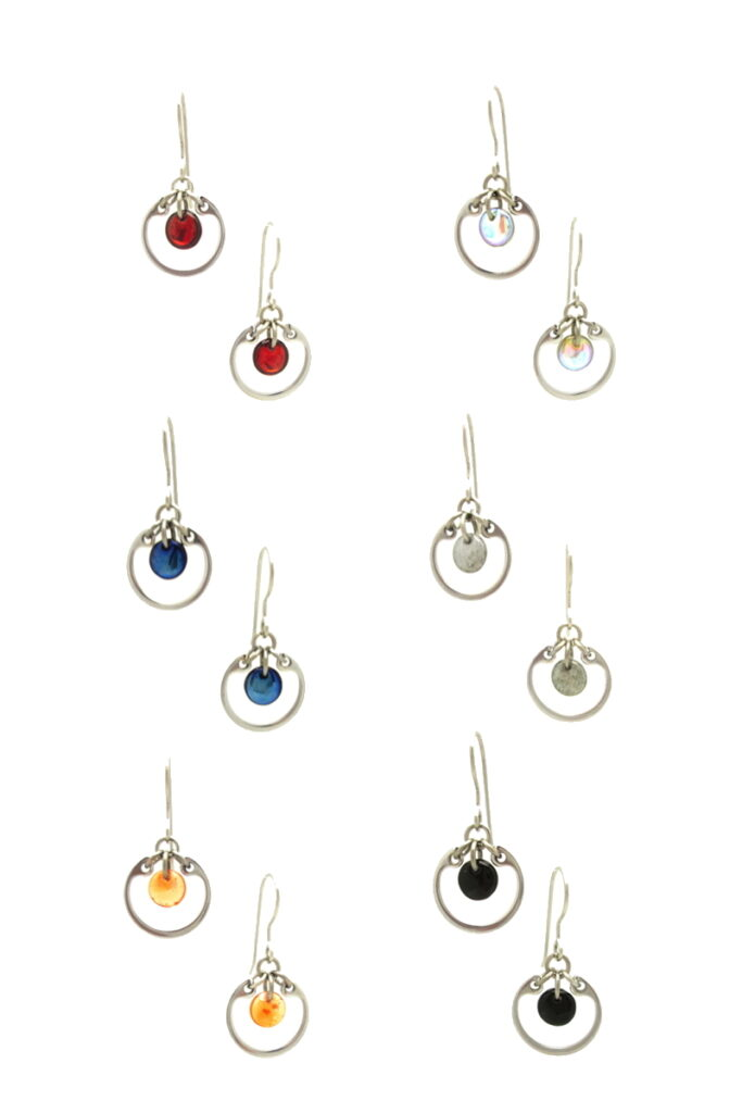 small circle earrings by wraptillion shown in six colors: red, pale rainbow, navy blue, gray, orange, and black, all with a silver-colored circle frame, on hypoallergenic titanium french hook ear wires