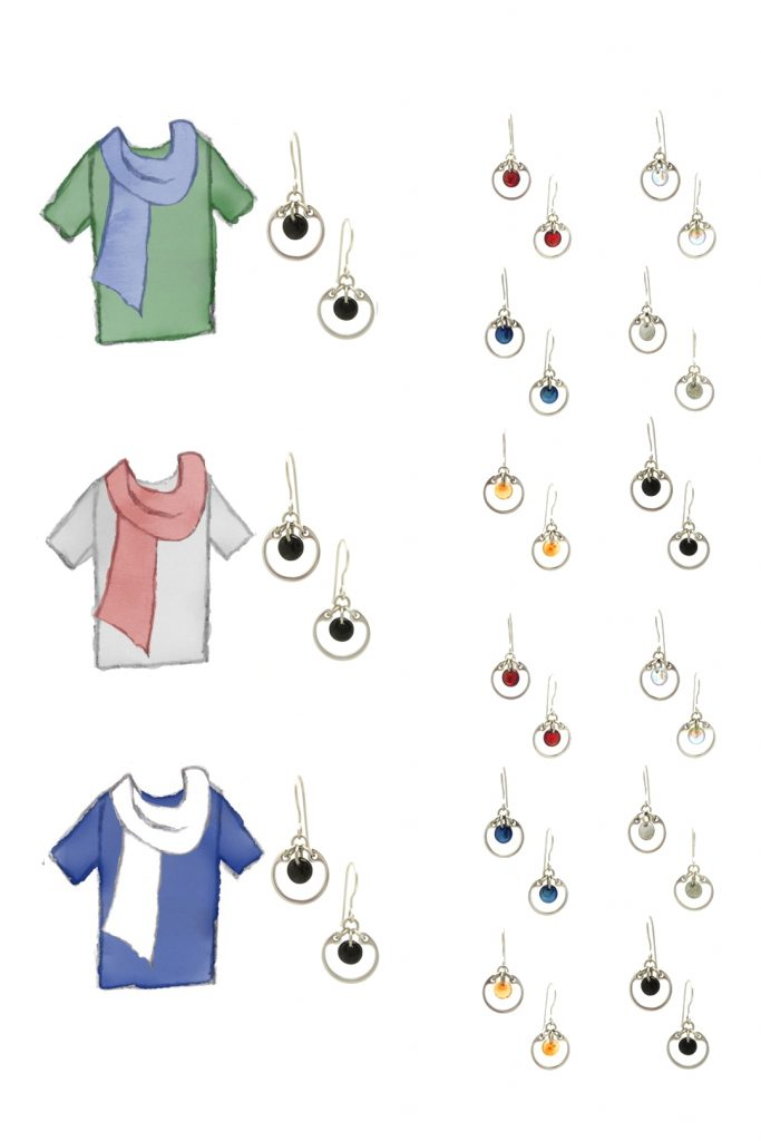 3 style sketches: a green tee with blue scarf, gray tee with pale red scarf, & blue tee with white scarf, with Wraptillion's small circle earrings in black, red, navy blue, orange, gray, and pale rainbow