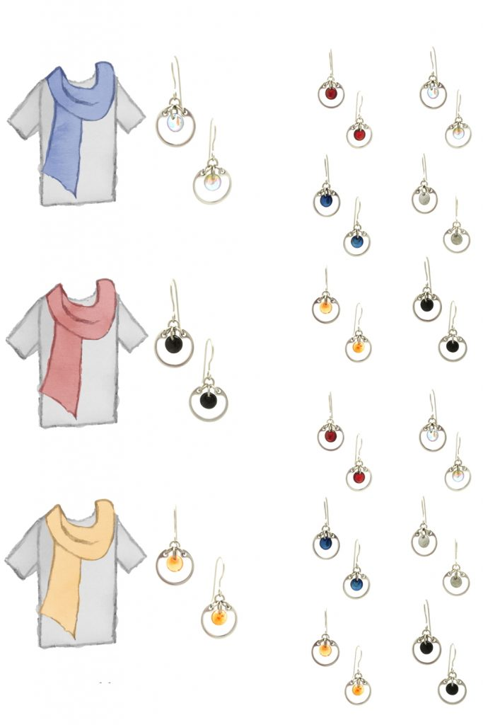 3 style sketches of a gray tee plus scarf: denim blue, light red, and pale orange, plus small modern circle earrings by wraptillion in gray, pale rainbow, navy blue, orange, black, and red