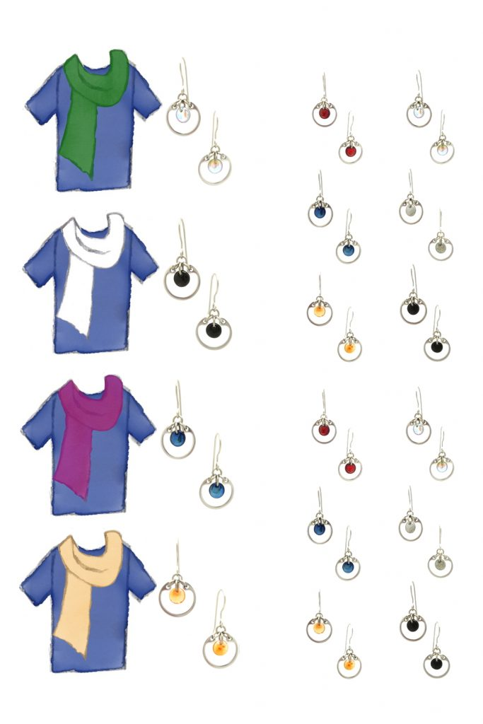4 style sketches of a blue tee plus scarf in green, white, fuchsia, and light orange, plus small modern circle earrings by wraptillion in gray, pale rainbow, navy blue, orange, black, and red