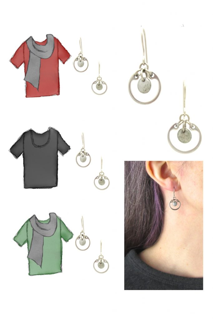 3 style sketches of a red tee + gray scarf, black tee, & green tee with grey scarf, styled with Wraptillion's silver-toned modern small circle earrings in gray, also with a modeled closeup