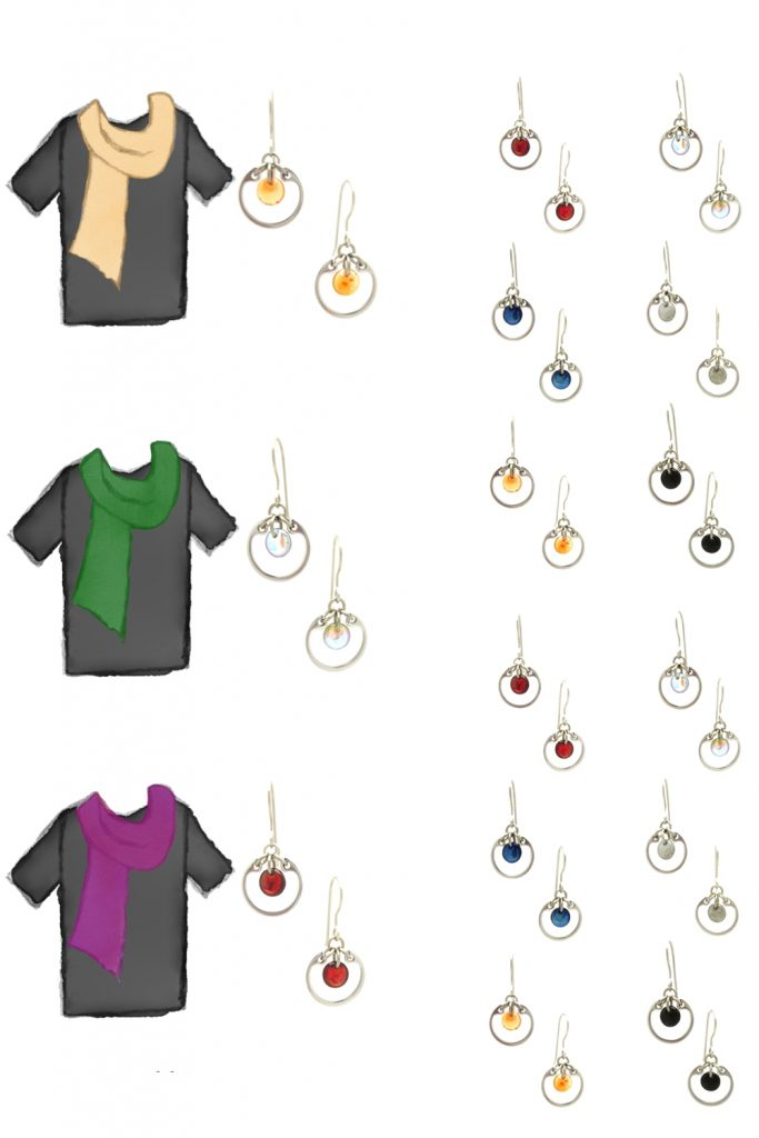3 style sketches of a black tee plus scarf: pale orange, forest green, and fuchsia, plus small modern circle earrings by wraptillion in gray, pale rainbow, navy blue, orange, black, and red