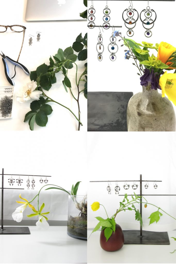 4 photos of small modern flower arrangements and Wraptillion jewelry from Wraptillion's studio flowers series, with alba roses, a rainbow bouquet, orchid Euchile mariae, and poppies and hops