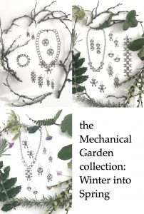 A compiled image of flatlays featuring bare and evergreen branches and early spring flowers surrounding modern botanical-inspired jewelry. Text on image reads: the Mechanical Garden collection: winter into spring.