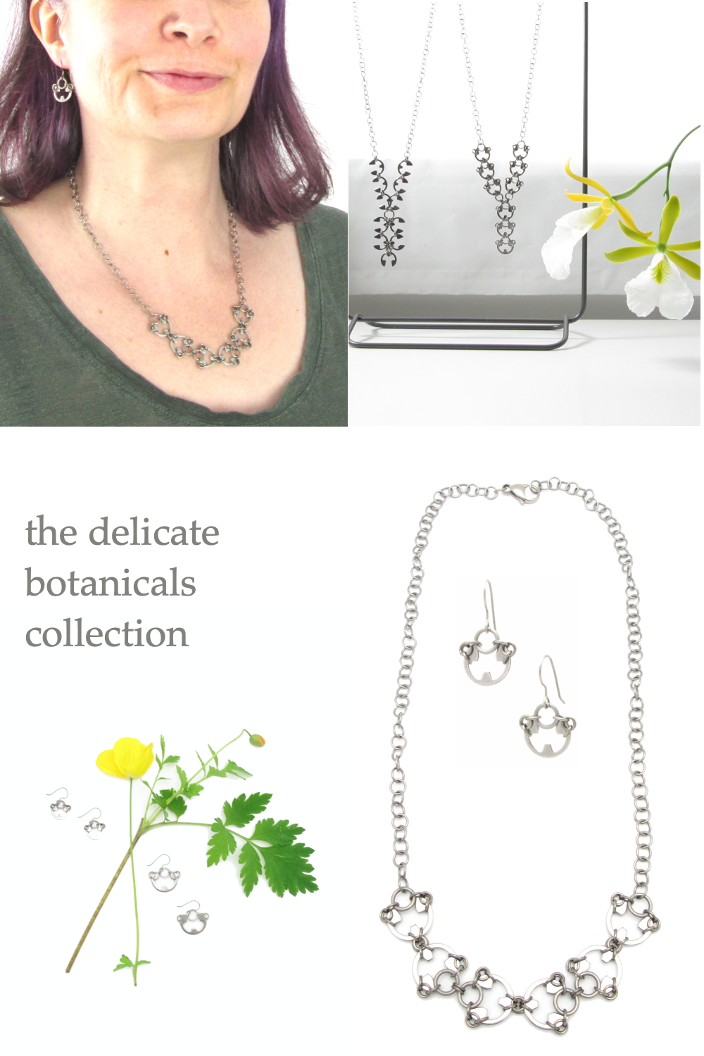 Several photos of Wraptillion's Small Poppy Earrings and Scarab Necklace (modeled, flatlay, and with an orchid)