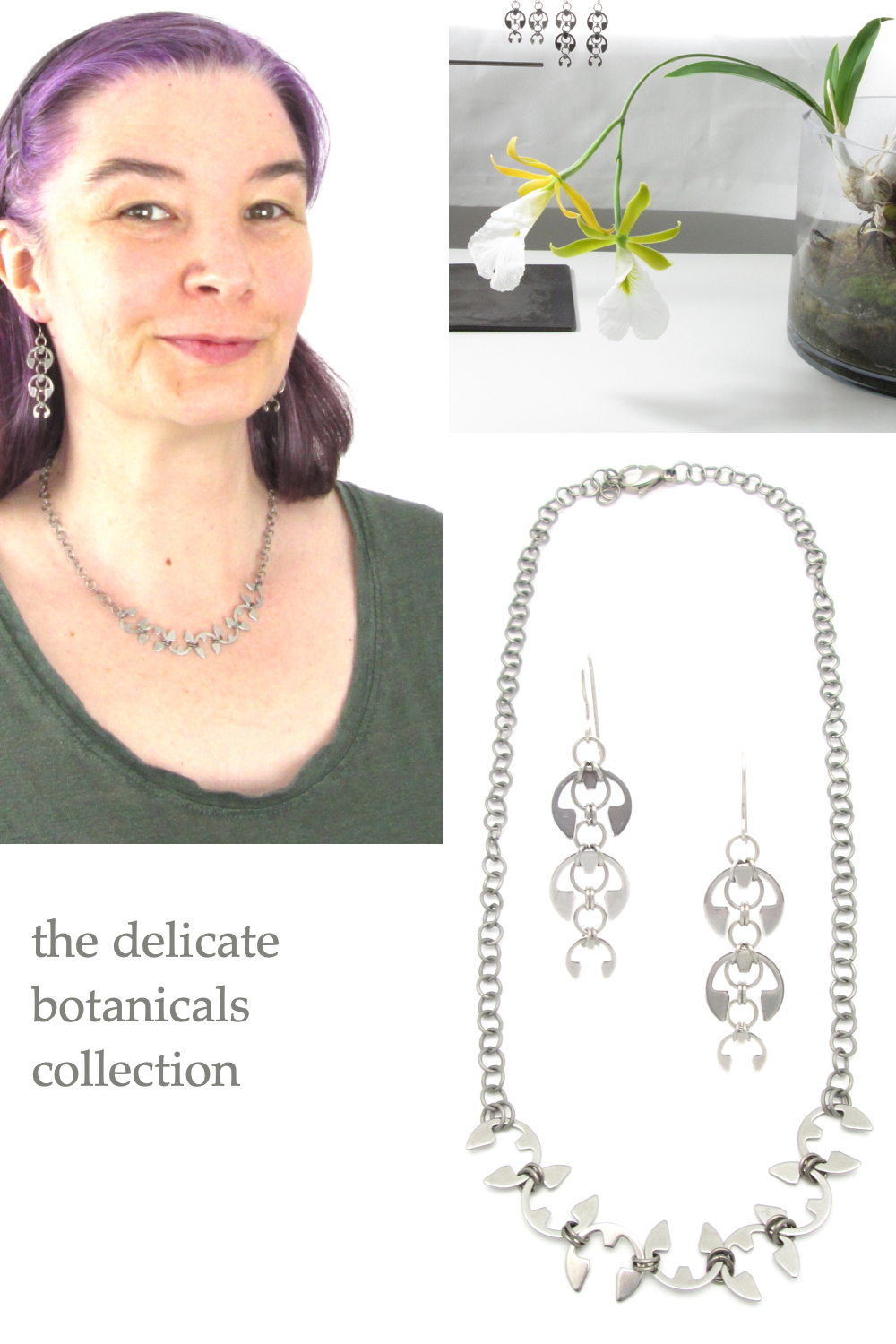 Several photoes of Wraptillion's Long Fuchsia Earrings and Vine Necklace (modeled, flatlay, and with an orchid)