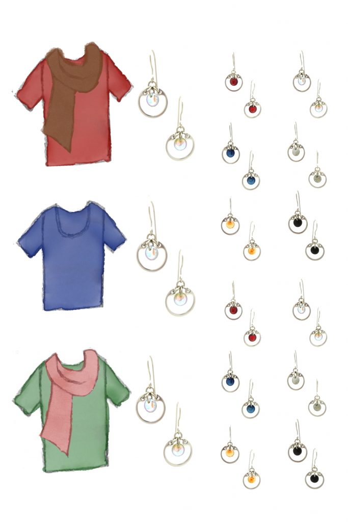 3 style sketches: a red tee with brown scarf, blue tee, & green tee with pale red scarf, with Wraptillion's modern small circle earrings in black, red, navy blue, orange, gray, and pale rainbow