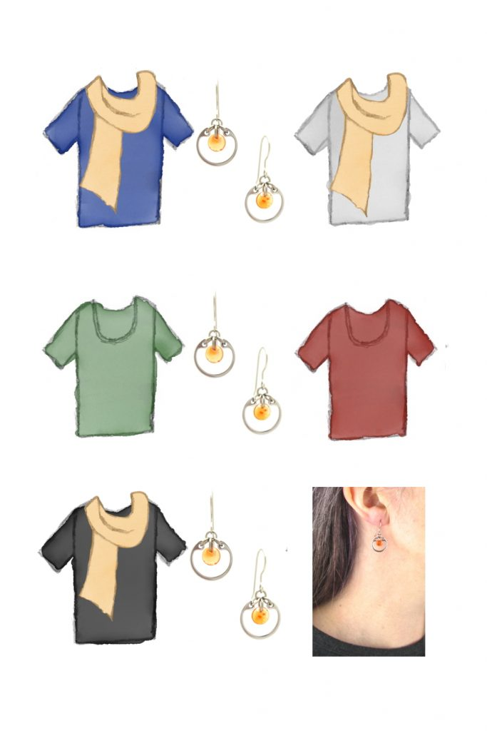 5 style sketches of a t-shirt in blue, gray, green, red, & black, with pale orange scarf, styled with Wraptillion's silver-toned modern small circle earrings in orange, also with a modeled closeup photo