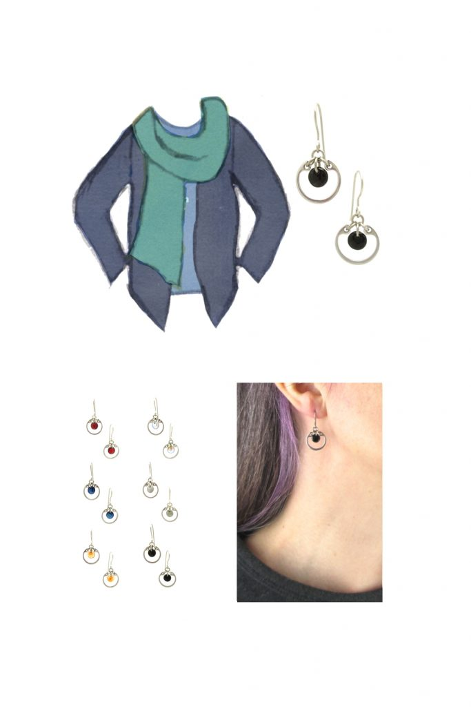 Compiled image with a style sketch of an outfit idea in shades of blue, with a pale blue tee, turquoise scarf, & dusty indigo cardigan, with Wraptillion's small modern circle earrings in black, a closeup modeled photo of the same earrings, and additional color choices for the small circle earrings.