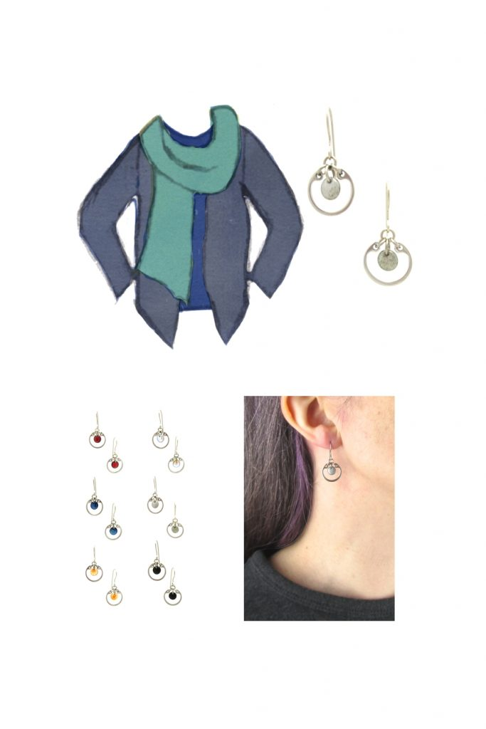 Compiled image with a style sketch of an outfit idea in shades of blue, with a dark blue tee, turquoise scarf, & dusty indigo cardigan, with Wraptillion's small modern circle earrings in gray, a closeup modeled photo of the same earrings, and additional color choices for the small circle earrings.