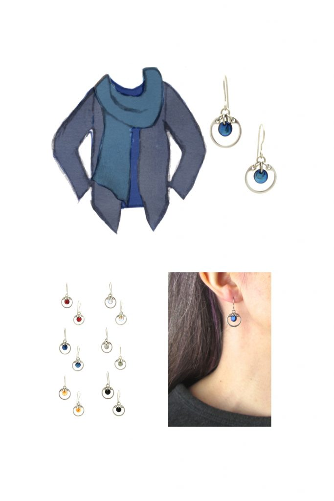Compiled image with a style sketch of an outfit idea in shades of blue, with a dark blue tee, violet blue scarf, & dusty indigo cardigan, with Wraptillion's small modern circle earrings in navy blue, a closeup modeled photo of the same earrings, and additional color choices for the small circle earrings.