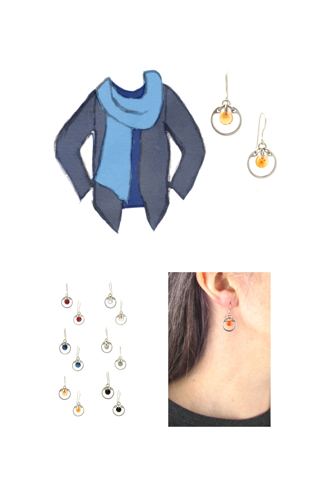 Compiled image with a style sketch of an outfit idea in shades of blue, with a dark blue tee, light blue scarf, & dusty indigo cardigan, with Wraptillion's small modern circle earrings in orange, Compiled image with a style sketch of an outfit idea in shades of blue, with a pale blue tee, violet blue scarf, & dusty indigo cardigan, a closeup modeled photo of the same earrings, and additional color choices for the small circle earrings.