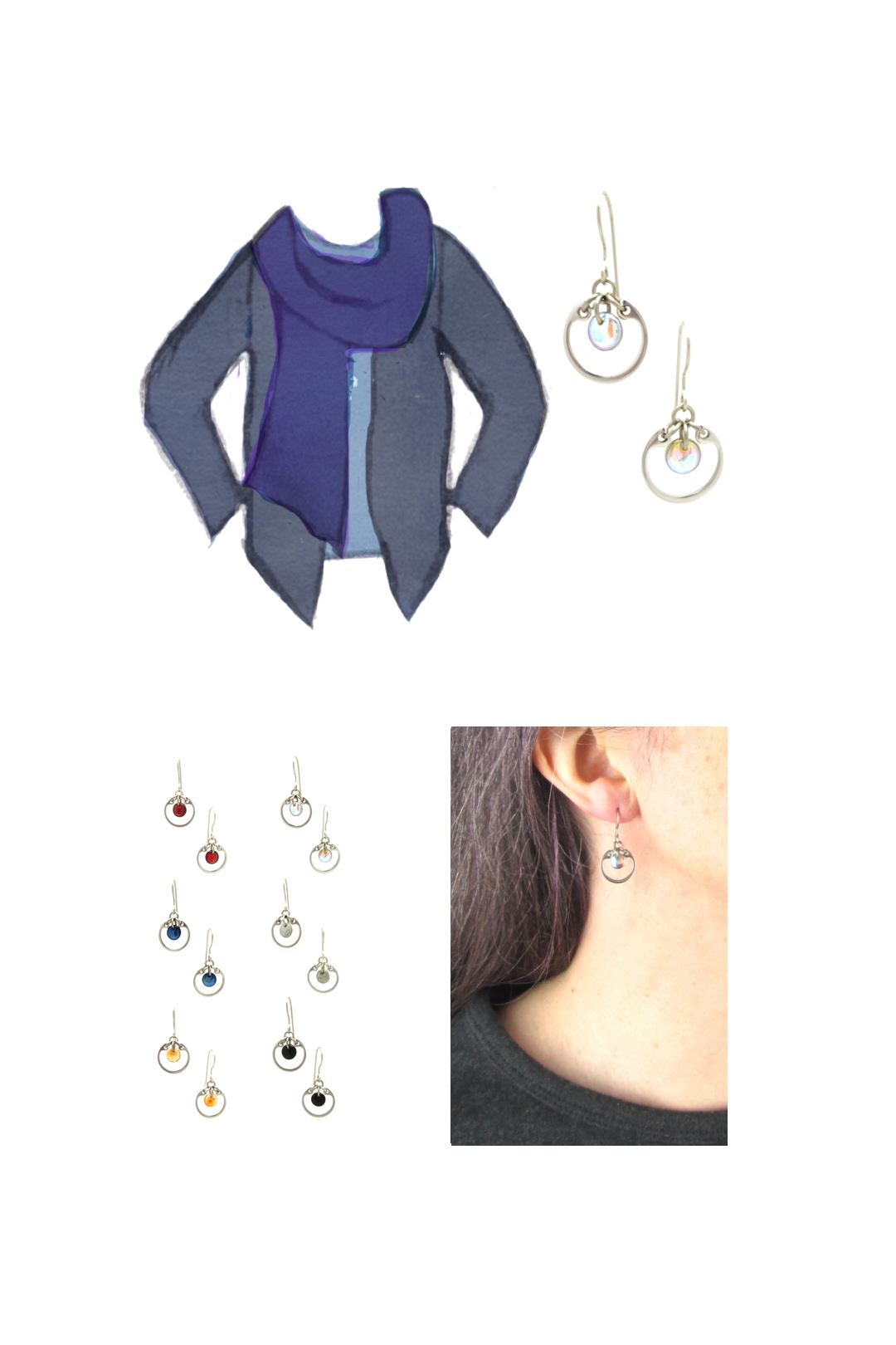 Compiled image with a style sketch of an outfit idea in shades of blue, with a pale blue tee, violet blue scarf, & dusty indigo cardigan, with Wraptillion's small modern circle earrings in pale rainbow, a closeup modeled photo of the same earrings, and additional color choices for the small circle earrings.