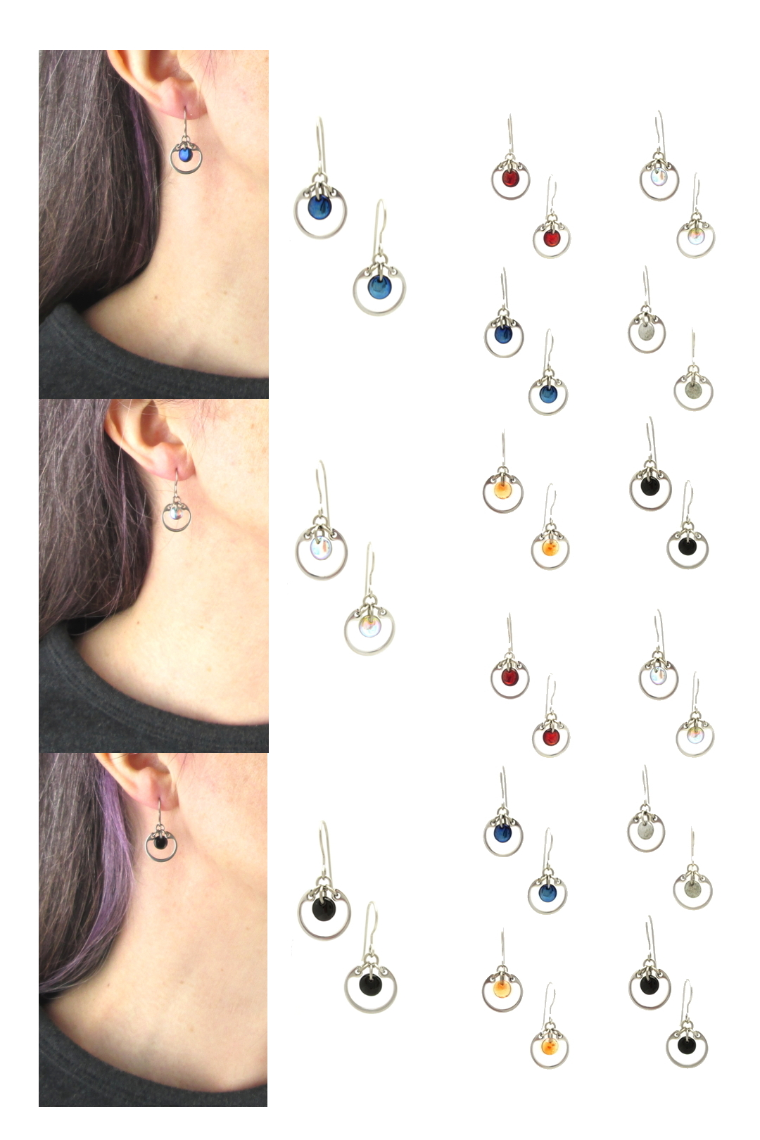 Compiled image of Wraptillion's small modern circle earrings with closeup modeled photos of the earrings, and color choices in red, pale rainbow, navy blue, gray, orange, and black.