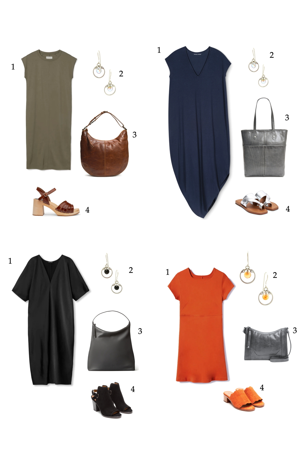 Compiled image of four easy casual but chic summer outfits featuring dresses, shoes, bags, and Wraptillion's modern small circle earrings