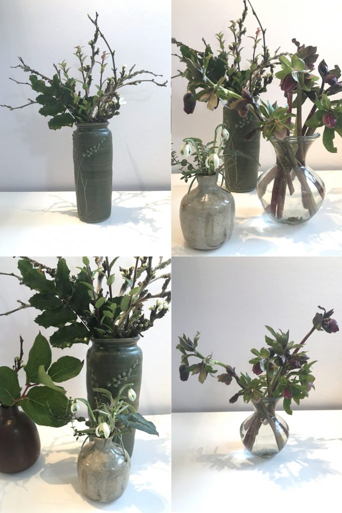 Compiled image of small winter flower arrangements in vases, with purple hellebores, mahonia, plum branches breaking into flower, and double snowdrops.