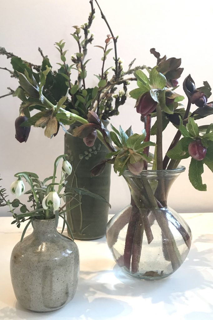 Photo of three small winter flower arrangements in vases, with purple hellebores, mahonia, plum branches breaking into flower, and double snowdrops.