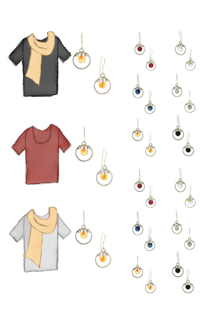 3 style sketches: a black tee with pale orange scarf, red tee, & gray tee with pale orange scarf, with Wraptillion's small circle earrings in black, red, navy blue, orange, gray, and pale rainbow