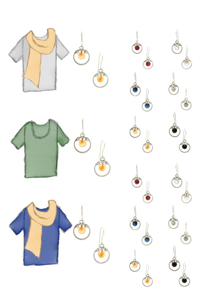 3 style sketches: a gray tee with pale orange scarf, green tee, & blue tee with pale orange scarf, with Wraptillion's small circle earrings in black, red, navy blue, orange, gray, and pale rainbow