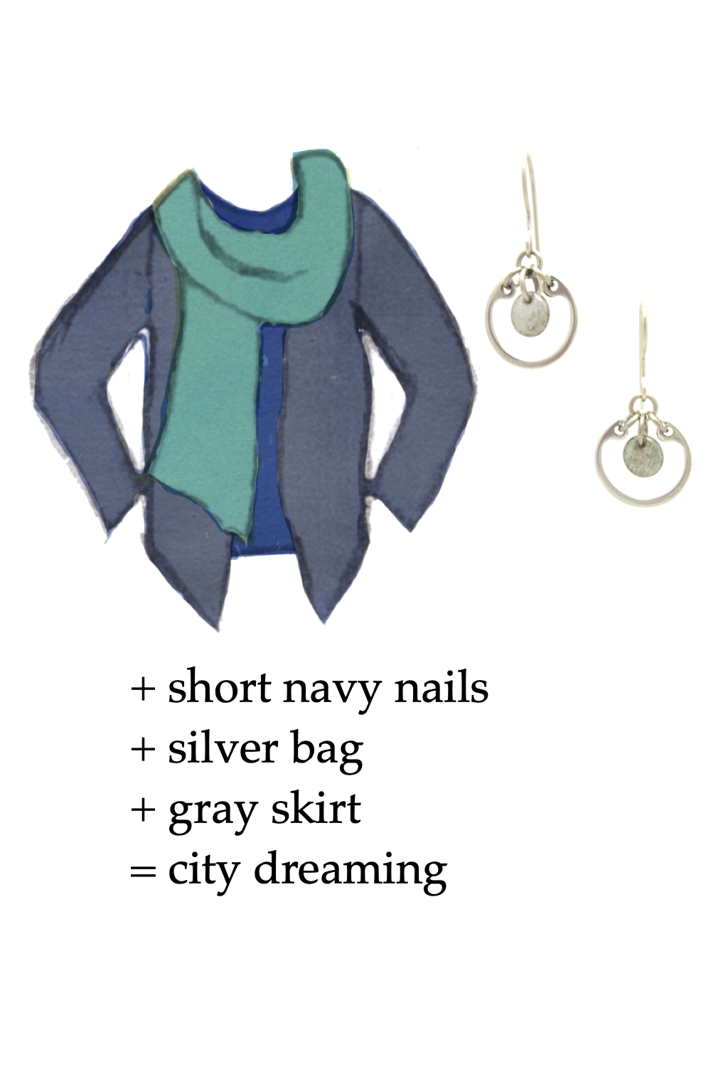Style sketch of an outfit idea in shades of blue, with a dark blue tee, turquoise scarf, & dusty indigo cardigan, with Wraptillion's small modern circle earrings in gray. Text on image reads: + short navy nails + silver bag + gray skirt = city dreaming