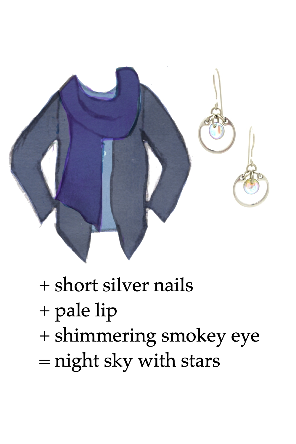 Style sketch of an outfit idea in shades of blue, with a pale blue tee, violet blue scarf, & dusty indigo cardigan, with Wraptillion's small modern circle earrings in pale rainbow. Text on image reads: + short silver nails + pale lip + shimmering smokey eye = night sky with stars