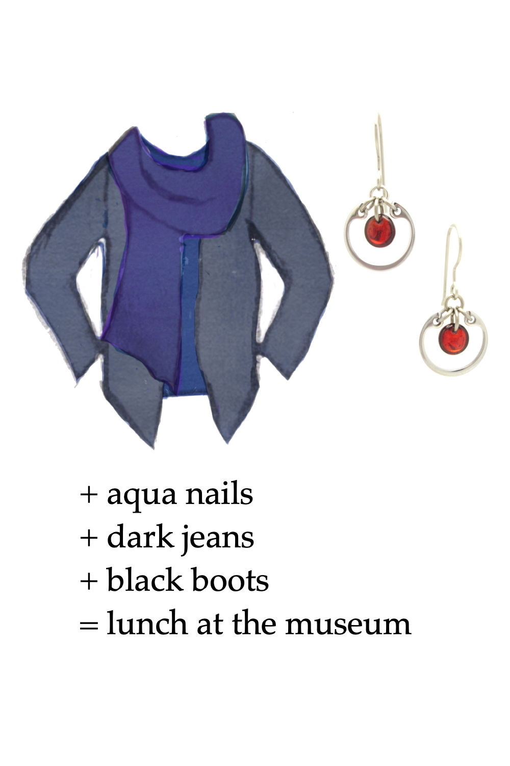 Style sketch of an outfit idea in shades of blue, with a dark blue tee, violet blue scarf, & dusty indigo cardigan, with Wraptillion's small modern circle earrings in red. Text on image reads: + aqua nails + dark jeans + black boots = lunch at the museum