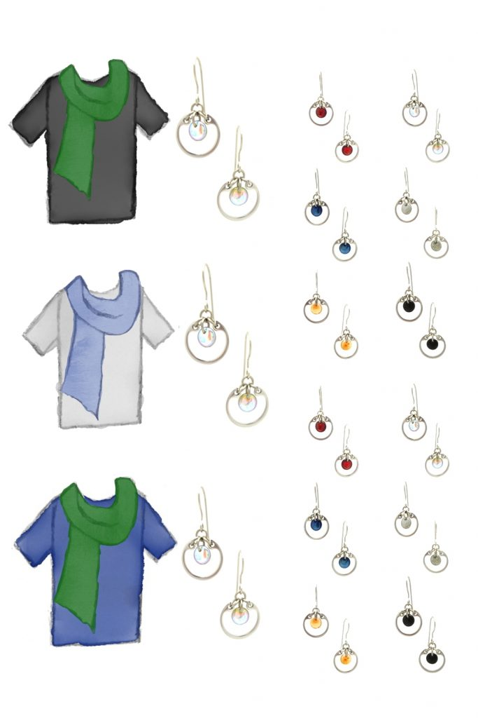 3 style sketches: a black tee with green scarf, gray tee with blue scarf, & blue tee with green scarf, with Wraptillion's modern small circle earrings in black, red, navy blue, orange, gray, and pale rainbow