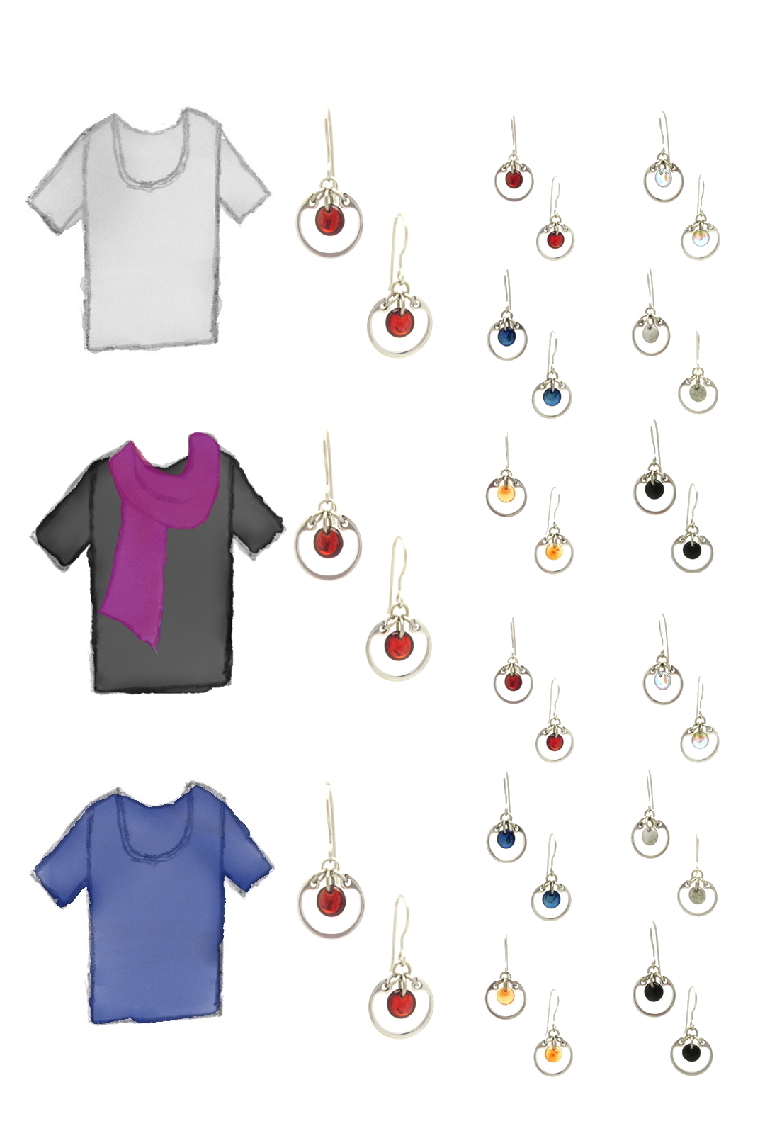 3 style sketches: a gray tee, black tee with fuchsia scarf, & blue tee, with Wraptillion's modern small circle earrings in black, red, navy blue, orange, gray, and pale rainbow