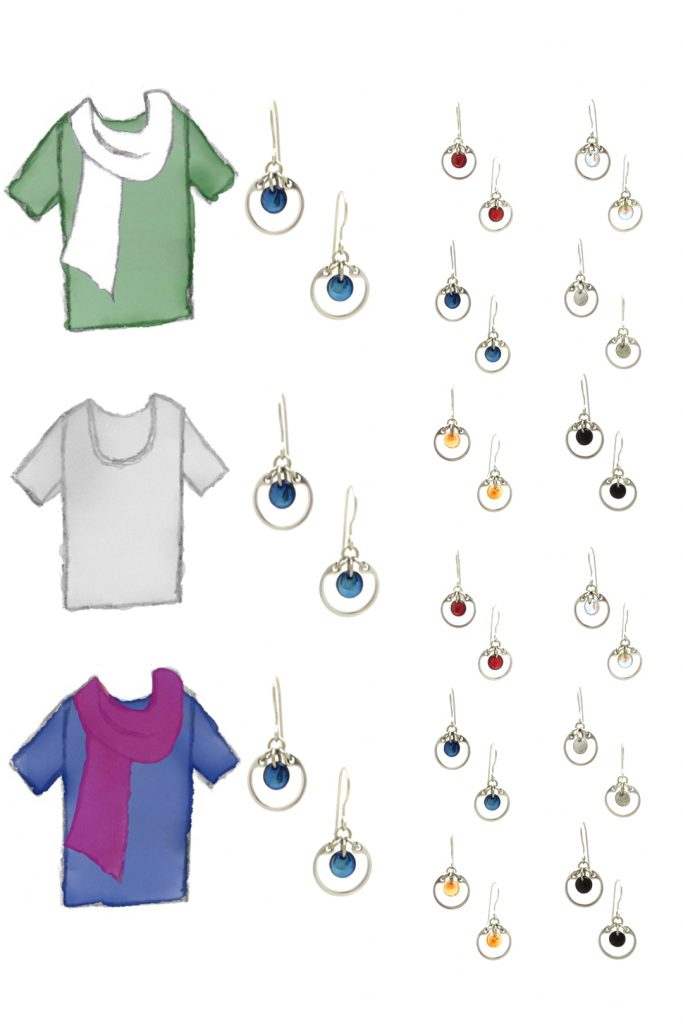 3 style sketches: a green tee with white scarf, gray tee, & blue tee with fuchsia scarf, with Wraptillion's modern small circle earrings in black, red, navy blue, orange, gray, and pale rainbow