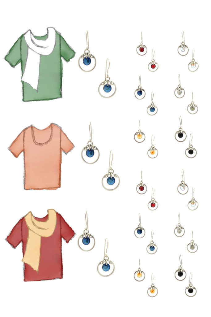 3 style sketches: a green tee with white scarf, orange tee, & red tee with pale orange scarf, with Wraptillion's modern small circle earrings in black, red, navy blue, orange, gray, and pale rainbow