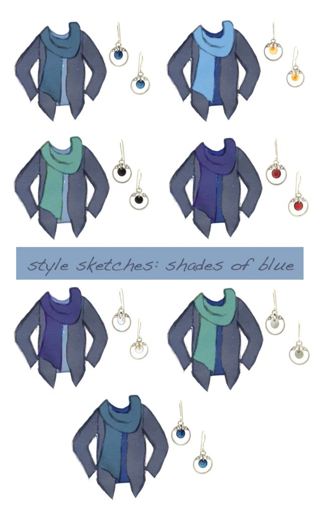 7 style sketches of a tee, scarf, and cardigan in shades of blue, with photos of Wraptillion's modern small circle earrings in navy, orange, black, red, pale rainbow, and gray.