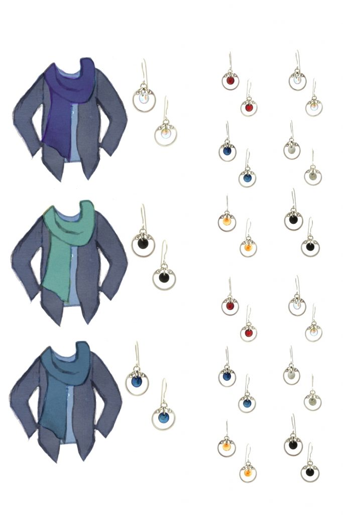 3 style sketches: a blue tee with indigo cardigan & violet, turquoise, or marine blue scarf, with Wraptillion's modern small circle earrings in black, red, navy blue, orange, gray, and pale rainbow