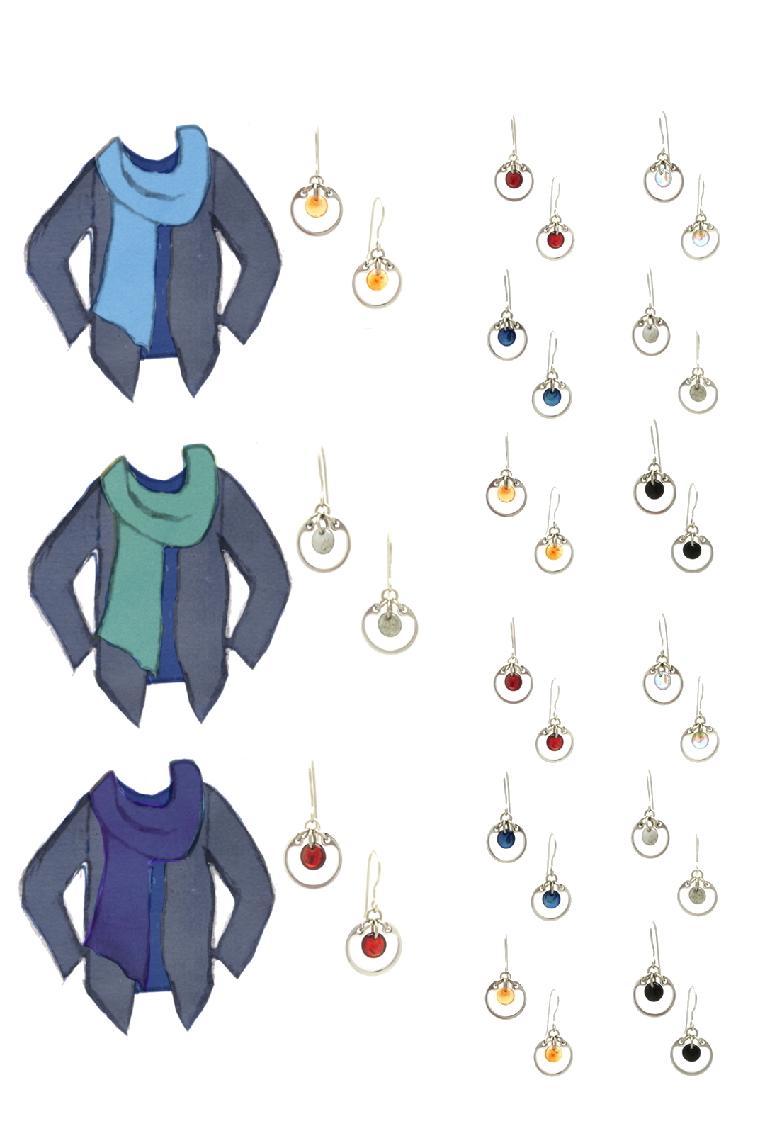 3 style sketches: a dark blue tee with indigo cardigan & sky blue, turquoise, or violet scarf, with Wraptillion's modern small circle earrings in black, red, navy blue, orange, gray, and pale rainbow