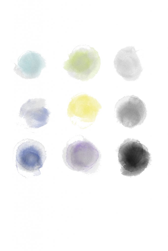 A color palette grid in nine colors: light blue, sage green, light gray, medium blue, golden yellow, medium gray, dark denim blue, smokey lavender purple, black.