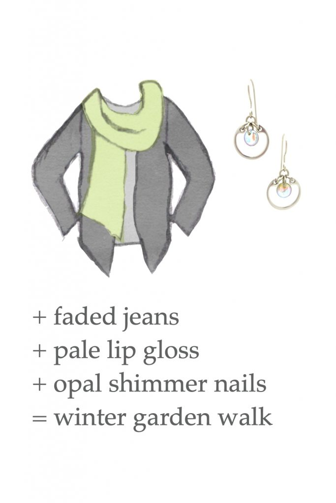 Style sketch of an outfit idea, with a light gray tee, celadon green scarf, & dark grey cardigan, with Wraptillion's small modern circle earrings in pale rainbow. Text on image reads: + faded jeans + pale lip gloss + opal shimmer nails = winter garden walk.