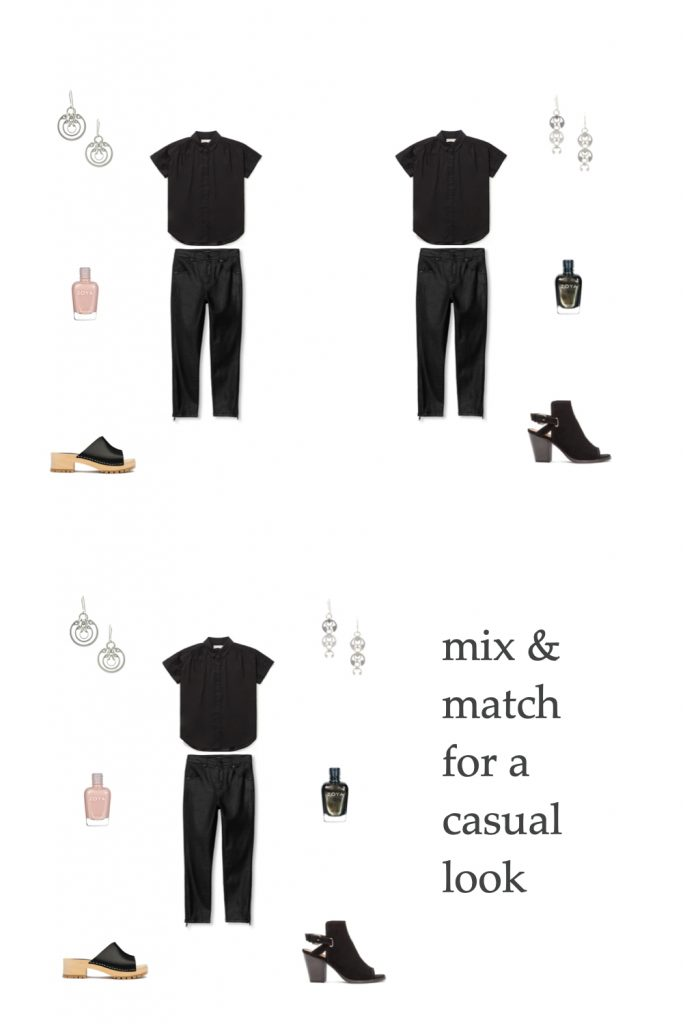 dark jeans and a black short-sleeve button-down shirt, combined with Zoya nail polish in pale pink or sparkling black, black Swedish clog mules or strappy black open toe boots with heels, and Wraptillion's Small Concentric Ring Earrings and Long Fuchsia Earrings.