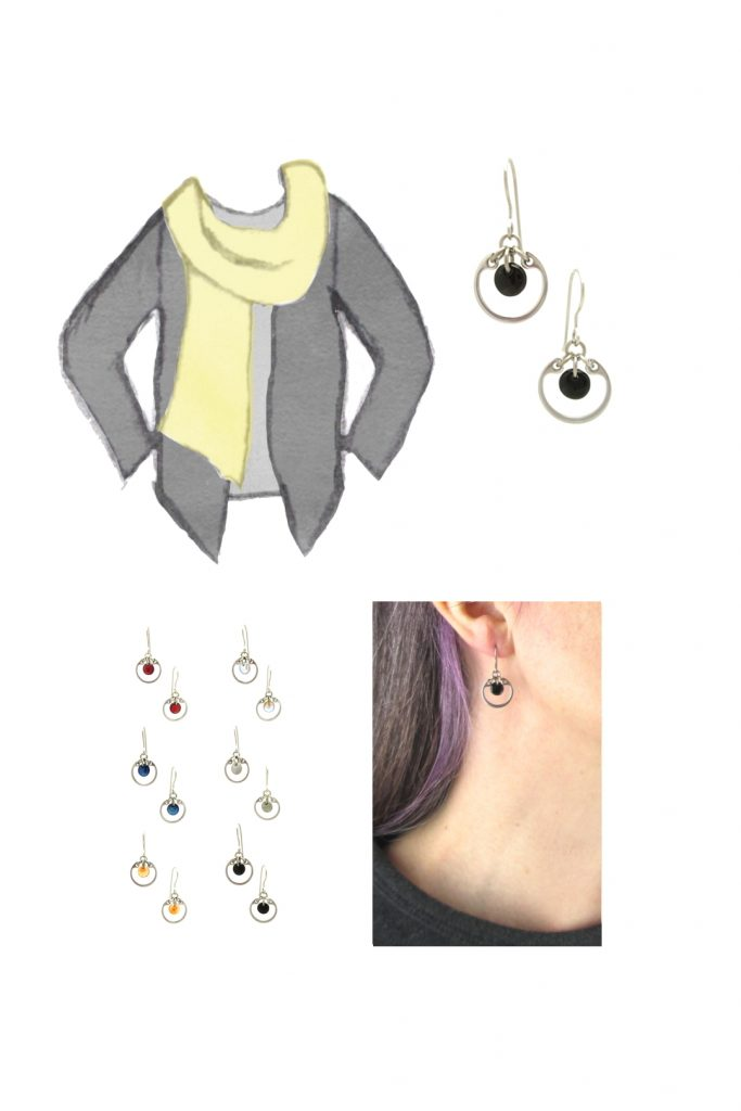 Compiled image with a style sketch of an outfit idea, with a light gray tee, dark grey cardigan, & pale yellow scarf, with Wraptillion's small modern circle earrings in black, a closeup modeled photo of the same earrings, and additional color choices for the small circle earrings.