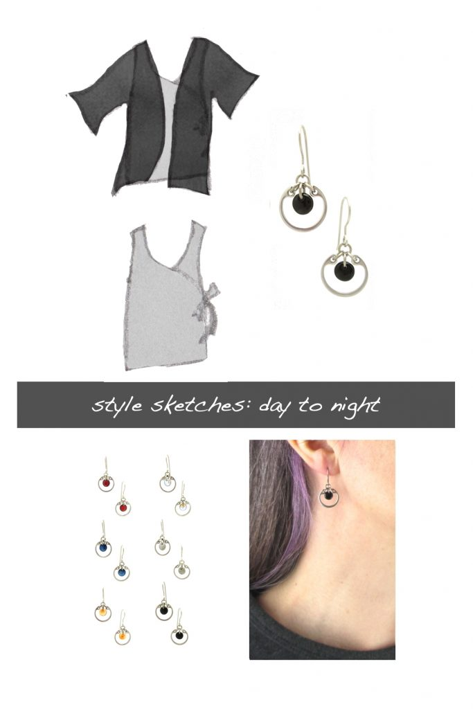 Compiled image with a style sketch of an outfit idea, with a gray sleeveless wrap top & black cardigan, with Wraptillion's small modern circle earrings in black, a closeup modeled photo of the same earrings, and additional color choices for the small circle earrings. Text on image reads: style sketches: day to night.