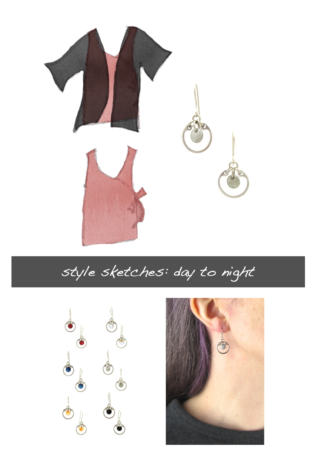 Compiled image with a style sketch of an outfit idea, with a rose pink sleeveless wrap top & black cardigan, with Wraptillion's small modern circle earrings in gray, a closeup modeled photo of the same earrings, and additional color choices for the small circle earrings. Text on image reads: style sketches: day to night.