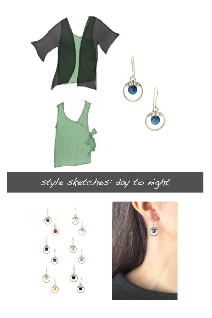 Compiled image with a style sketch of an outfit idea, with a light green sleeveless wrap top & black cardigan, with Wraptillion's small modern circle earrings in navy blue, a closeup modeled photo of the same earrings, and additional color choices for the small circle earrings. Text on image reads: style sketches: day to night.